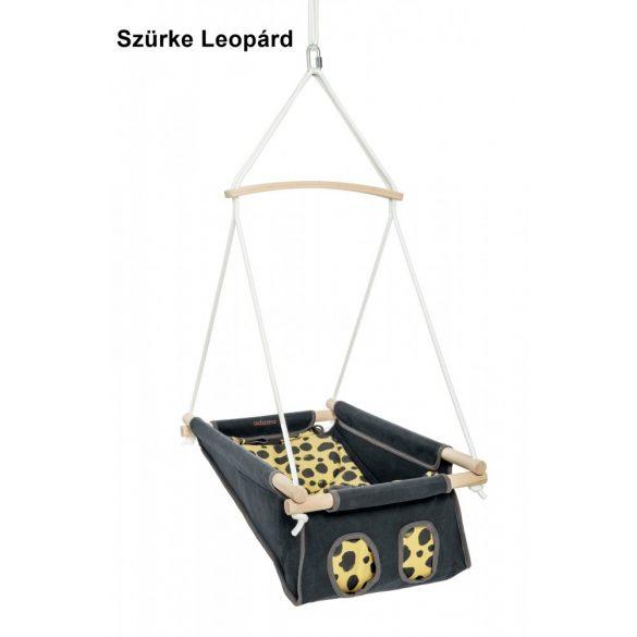 Adamo szürke leopárd bébihinta keresztfás kötélzettel