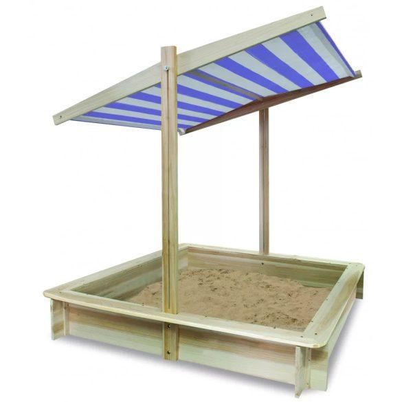 Fa homokozó napfényvédő tetővel