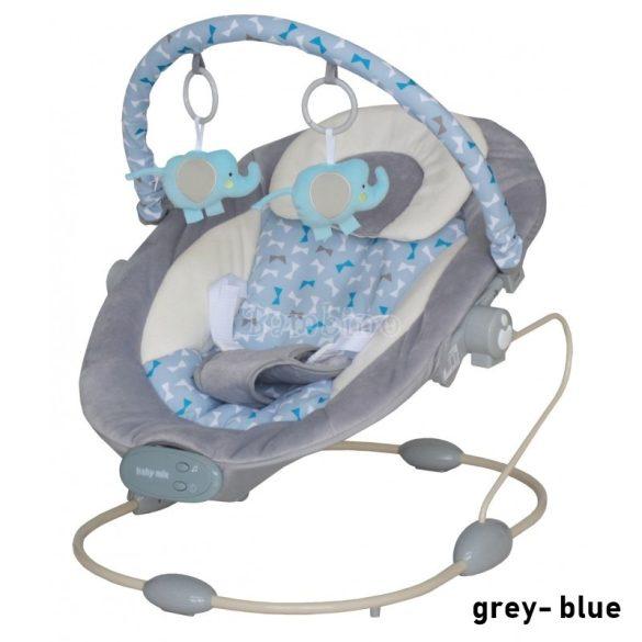 Baby Mix elefántos rezgő-zenélő pihenőszék - grey-blue