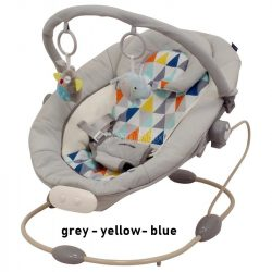 Baby Mix rezgő, zenélő pihenőszék - grey-yellow-blue