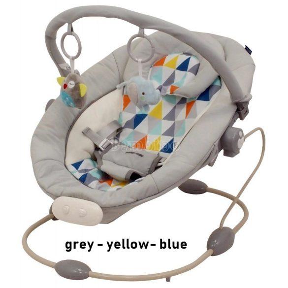 Baby Mix rezgő, zenélő pihenőszék - grey-yellow-blue