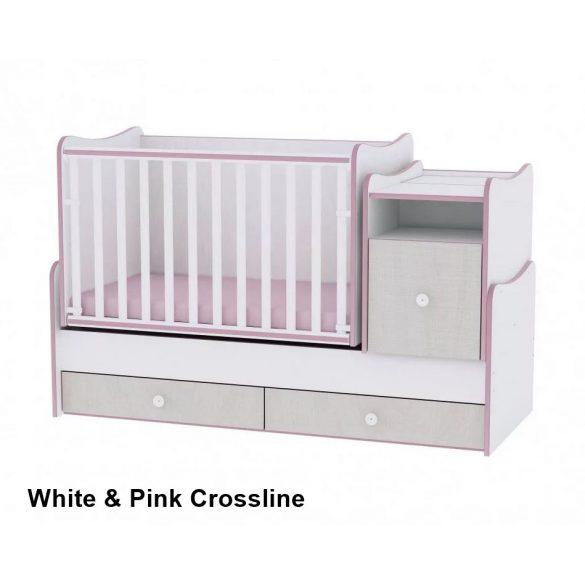 Lorelli Trend Plus ringatható kombi kiságy - White & Pink Crossline