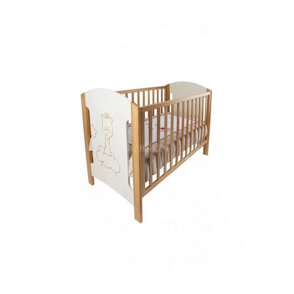 ZY Baby Zsiráf leengedhető oldalú kiságy, babaágy 60x120 - bézs tölgy