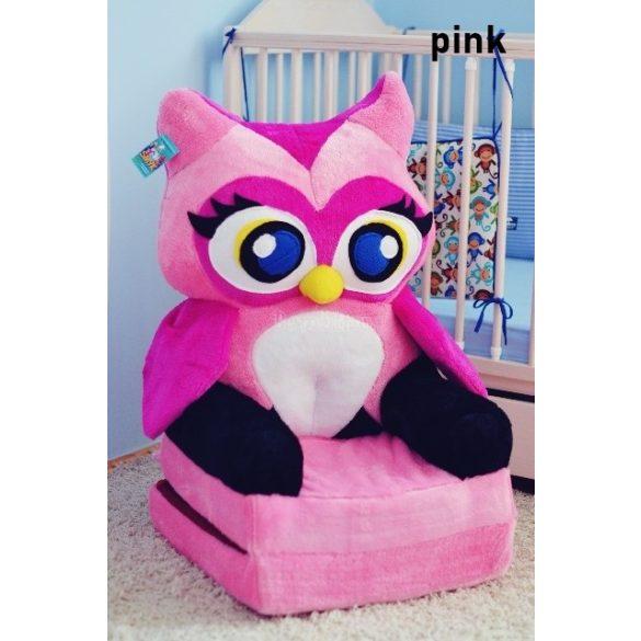 Rózsaszín Bagoly babafotel fotelágy