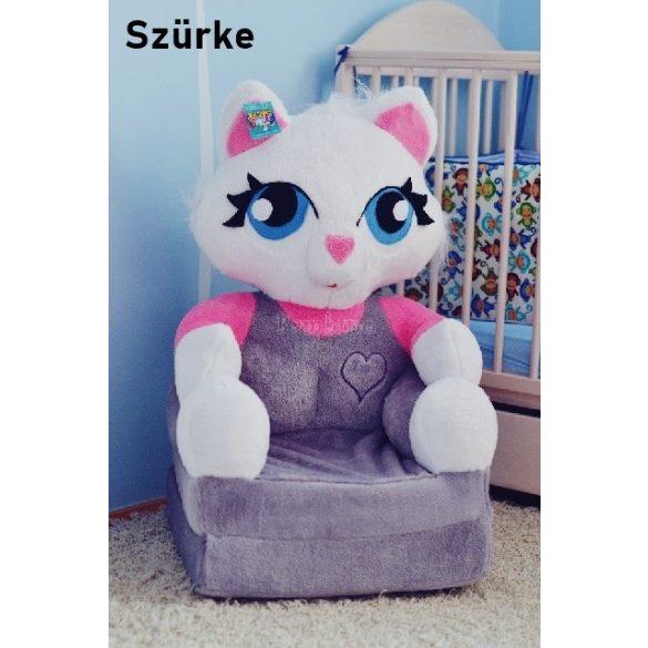 Szürke cica babafotel fotelágy