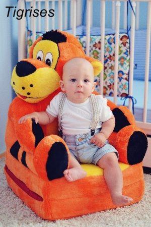 Tigris plüss gyerekfotel - fotelágy