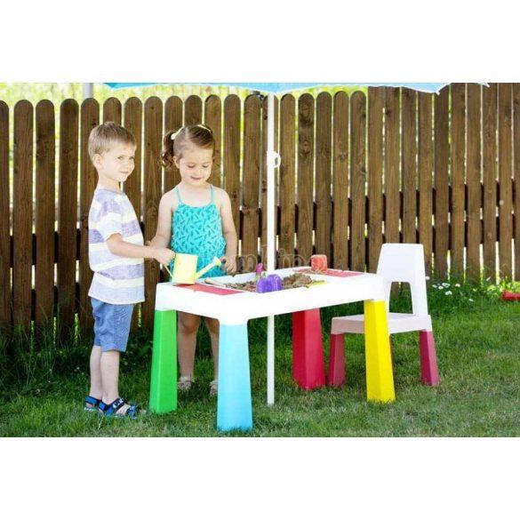 Készségfejlesztő gyerekasztal székkel - színes