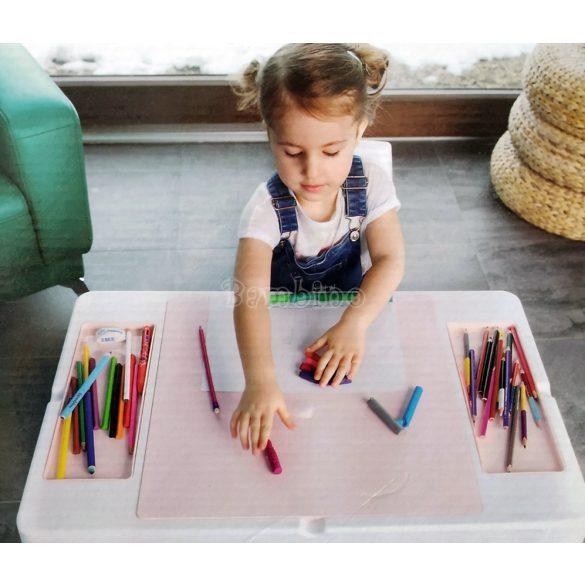 Készségfejlesztő gyerekasztal székkel - rózsaszín