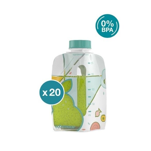 Babymoov Foodii újrafelhasználható bébiételes tasak 20 db