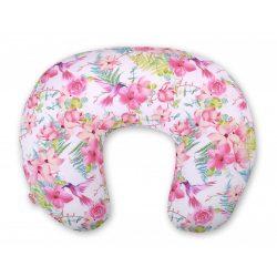 BabyLion Luxus etető párna - Rózsaszín virágok és kolibrik