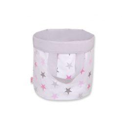 BabyLion kifordítható játéktároló L méret - Szürke - Rózsaszín csillagok