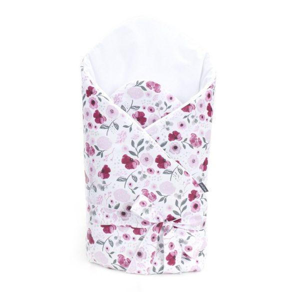 MTT Merevített pólya - Fehér alapon rózsaszín árvácskák