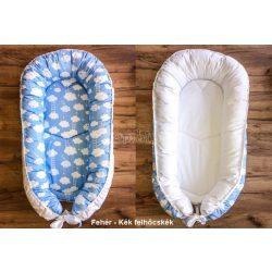 Babylion kifordítható babafészek 2 - Fehér - Kék felhőcskék