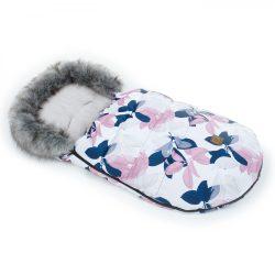MTT LUX bundazsák - Fehér alapon rózsaszín és kék levelek
