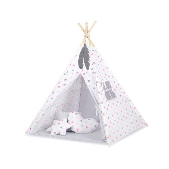 BabyLion Textil sátor - szürke, rózsaszín csillagok
