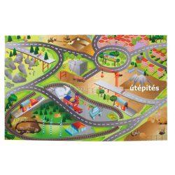 Játszószőnyeg - autókkal, 120x80 cm - útépítés