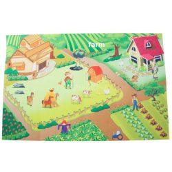 Játszószőnyeg autókkal, 120x80 cm - farm