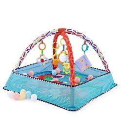 Kikkaboo játszószőnyeg 18 labdával - kék állatos