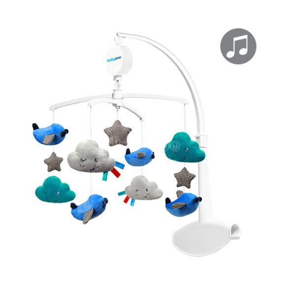 BabyOno forgó-zenélő utazóágyra és fa kiságyra, felhők - repülők