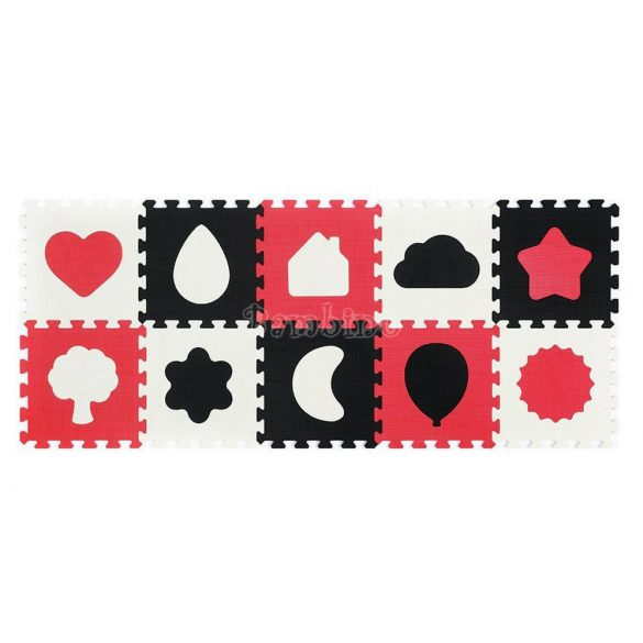 BabyOno habtapi puzzle játszószőnyeg - piros-fehér formák