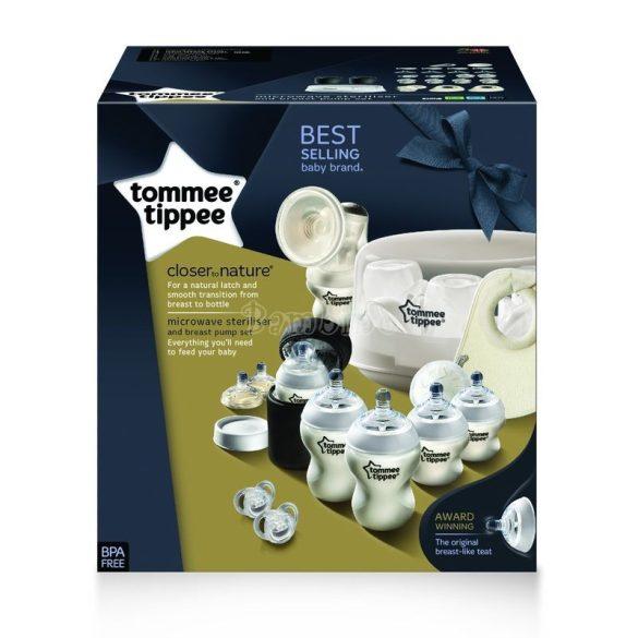 Tommee Tippee mikrohullámú gőzsterilizáló és kézi mellszívó szett ajándékokkal