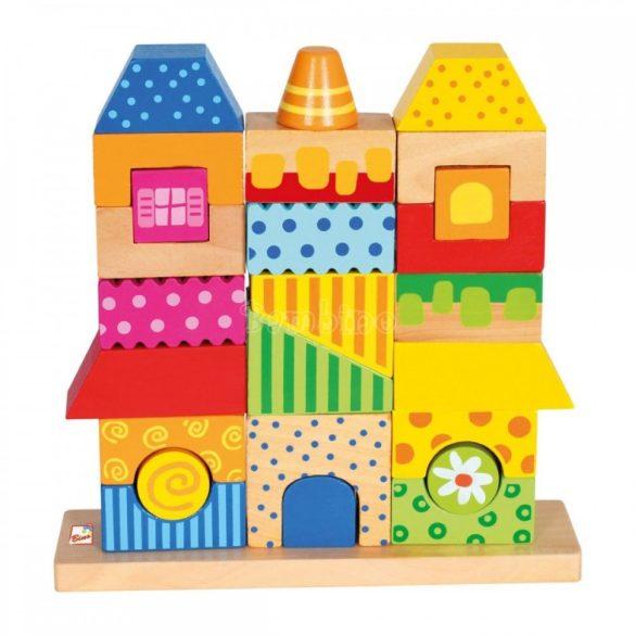 Fa házikóépítő játék