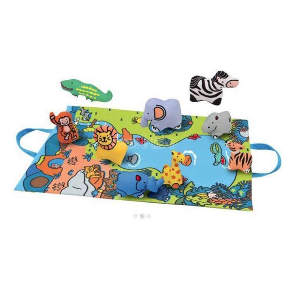 Dzsungel játszószőnyeg állatfigurákkal