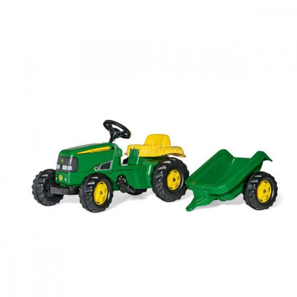 Rolly Kid John Deere pedálos játék traktor le-felszerelhető utánfutóval