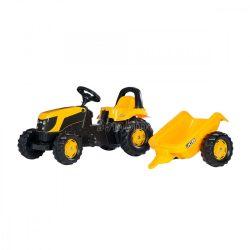 Rolly Kid JCB pedálos gyerek traktor utánfutóval - felhajtható motorháztető