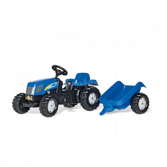 Rolly Kid New Holland T 7040 pedálos játék traktor utánfutóval - motorháztető felhajtható