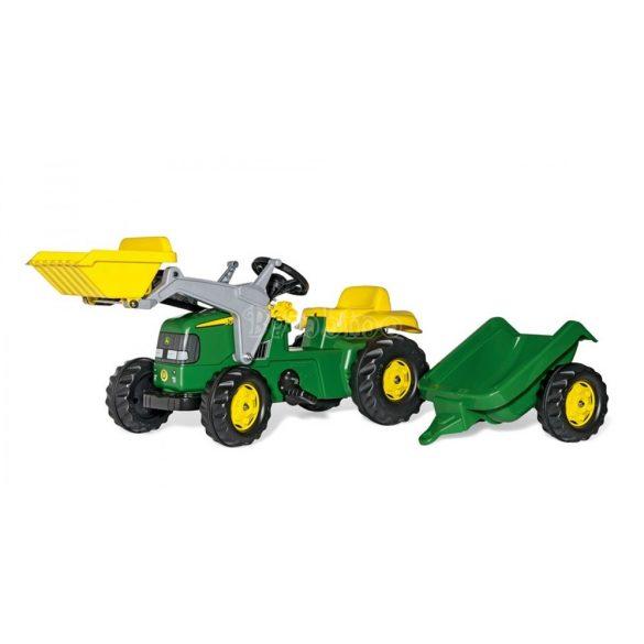 John Deere pedálos markolós traktor utánfutóval