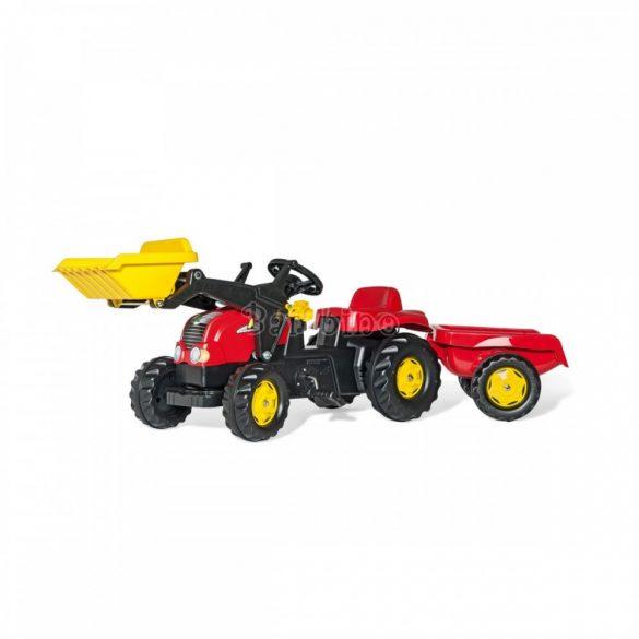Rolly Kid-X pedálos markolós játék traktor utánfutóval felszerelve - piros