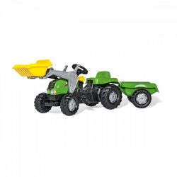 Rolly Kid-X pedálos markolós játék traktor utánfutóval felszerelve - zöld