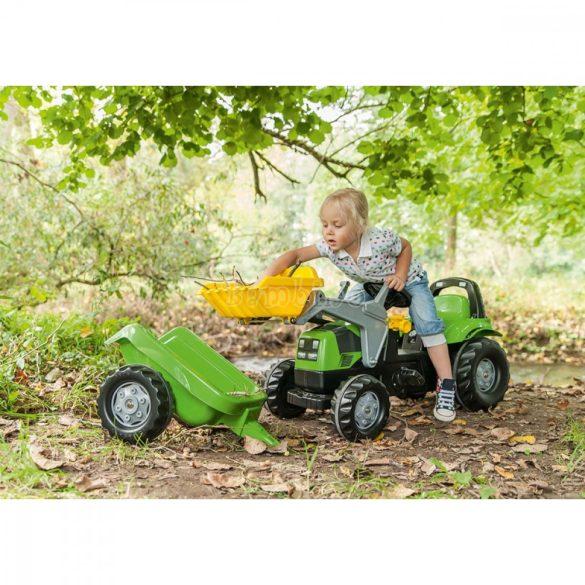 Kid Deutz-Fahr pedálos markolós traktor utánfutóval