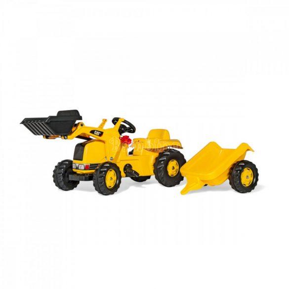Kid CAT pedálos markolós traktor le-felszerelhető utánfutóval