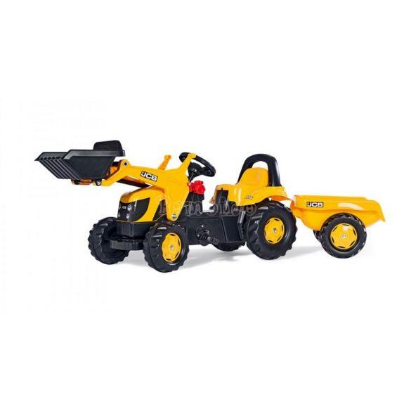 JCB pedálos markolós traktor utánfutóval