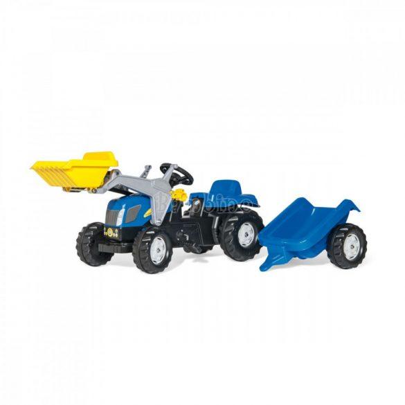 New Holland T 7040 pedálos markolós traktor utánfutóval