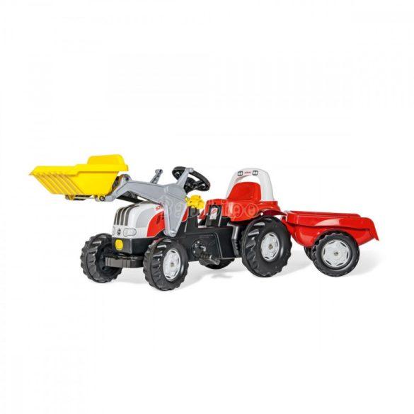 Rolly Kid Steyr 6160 CVT pedálos markolós játék traktor utánfutóval