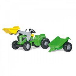Rolly Kiddy Futura pedálos markolós gyerek traktor utánfutóval